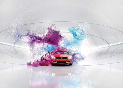 In 2014 the styling became futuristic: several cars, including the BMW shown, had buckets of paint thrown at them.