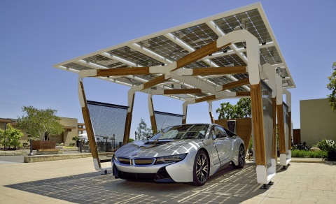 An electric charging station with a solar roof