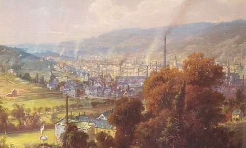 The German town of Barmen in 1870.