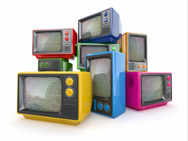 Television sets in rainbow colours.