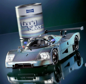 Model Mercedes motor racing version in Liquid Silver
