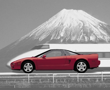 Here a motif from 1999: the bright-red sports car in a race against a Japanese high-speed train in front of Japan's highest mountain – Fuji.