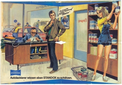 In the 1960s female charms reinforced the advertising power of Standox products.