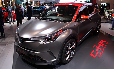 Toyota's C-HR Hy-Power design study in Dark Carbon silver with a matte finish and orange accents.