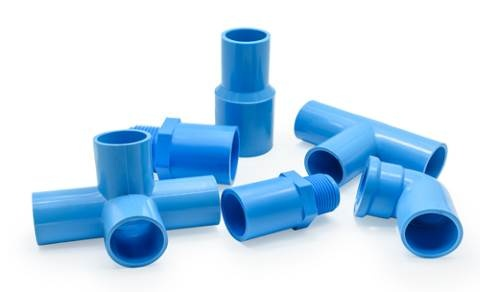 Pipes connecting pieces blue