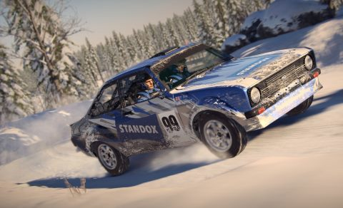 A Ford Escort with Standox logo in a snowstorm