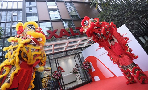 Two Chinese dragons lined the entrance area of the training centre at the opening.