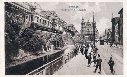 The suspension railway, which opened in 1901, is shown here a postcard from 1914. It is still the emblem of Wuppertal to this day